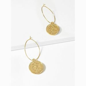Coin Engraved Round Hoop Statement Drop Earrings